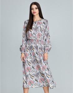 Różowa sukienka Figl z długim rękawem midi