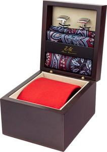 Zestaw ślubny dla mężczyzny w kolorze czerwonym: krawat + poszetka + spinki zapakowane w pudełko EM 26