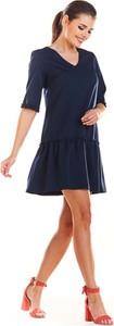 Niebieska sukienka Infinite You mini z długim rękawem z dekoltem w kształcie litery v