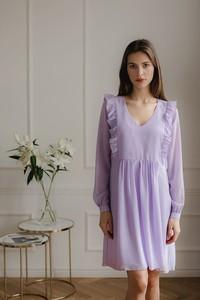 Fioletowa sukienka LENITIF z długim rękawem mini