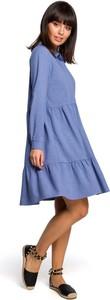 Sukienka MOE z lnu koszulowa midi