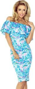 Niebieska sukienka NUMOCO z krótkim rękawem hiszpanka