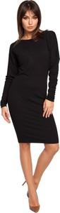 Czarna sukienka Be z okrągłym dekoltem ołówkowa