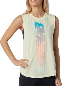 Bluzka New Balance z okrągłym dekoltem z krótkim rękawem w sportowym stylu