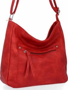 Czerwona torebka Herisson w stylu glamour ze skóry na ramię