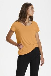 Brązowy t-shirt Soaked in Luxury z okrągłym dekoltem z krótkim rękawem