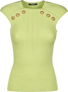 Zielona bluzka Balmain z krótkim rękawem