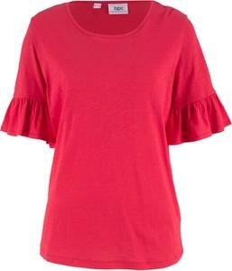 Czerwony t-shirt bonprix bpc bonprix collection z okrągłym dekoltem