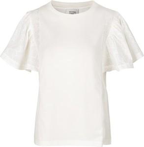 Bluzka Second Female z bawełny z krótkim rękawem z okrągłym dekoltem