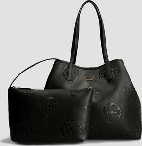 Czarna torebka Guess duża w stylu glamour matowa