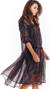 Sukienka Awama z dekoltem w kształcie litery v midi asymetryczna