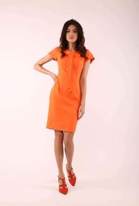 Pomarańczowa sukienka Nommo z krótkim rękawem mini dopasowana
