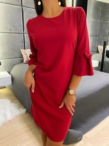 Czerwona sukienka ModnaKiecka.pl mini w stylu casual