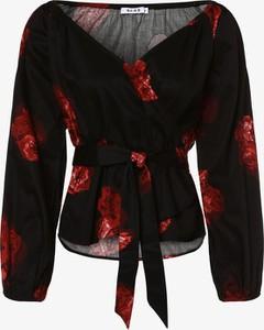 Czarna bluzka NA-KD z długim rękawem z dekoltem w kształcie litery v