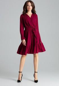 Sukienka LENITIF mini z długim rękawem z dekoltem w kształcie litery v