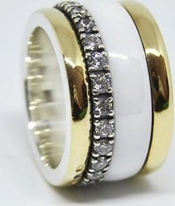 Elegancka złota i srebrna obrączka z cyrkonami - Astorga