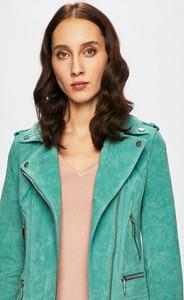 Turkusowa kurtka Vero Moda krótka z zamszu w stylu casual