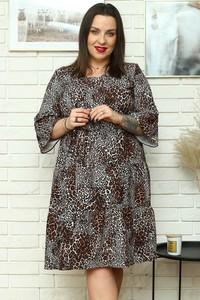 Sukienka KARKO z okrągłym dekoltem z tkaniny dla puszystych