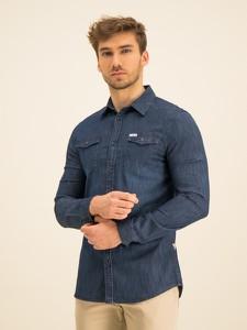 Granatowa koszula Guess z długim rękawem