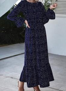 Granatowa sukienka Cikelly z okrągłym dekoltem