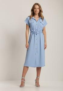 Niebieska sukienka Renee z dekoltem w kształcie litery v w stylu casual koszulowa