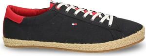 Czarne buty letnie męskie Tommy Hilfiger z tkaniny