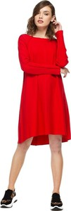 Czerwona sukienka fADD z długim rękawem w stylu casual z dzianiny