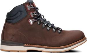 Brązowe buty zimowe Tommy Hilfiger ze skóry sznurowane w street stylu