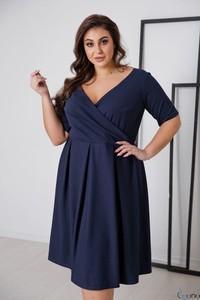 Niebieska sukienka tono.sklep.pl z dekoltem w kształcie litery v mini