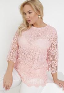 Różowa bluzka born2be z długim rękawem z okrągłym dekoltem w stylu casual