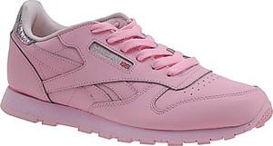 Różowe buty sportowe dziecięce Reebok ze skóry dla dziewczynek sznurowane