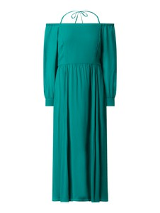 Zielona sukienka Pennyblack z okrągłym dekoltem z odkrytymi ramionami midi