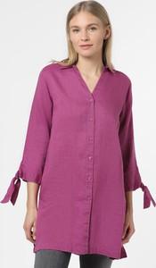 Fioletowa koszula Franco Callegari z lnu z długim rękawem