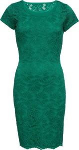 Zielona sukienka bonprix BODYFLIRT dopasowana z krótkim rękawem z okrągłym dekoltem