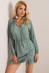 Zielona sukienka Sheandher.pl mini z dekoltem w kształcie litery v z długim rękawem