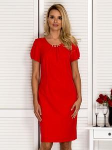 Czerwona sukienka Sheandher.pl z krótkim rękawem mini