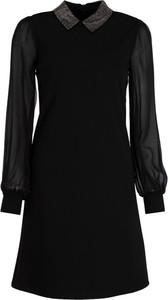Czarna sukienka John Richmond koszulowa z długim rękawem