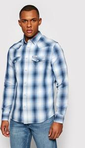 Niebieska koszula Wrangler w stylu casual z klasycznym kołnierzykiem z długim rękawem