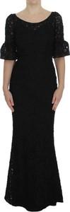 Czarna sukienka Dolce & Gabbana maxi z bawełny bodycon