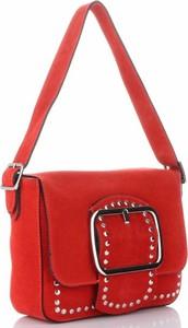 Czerwona torebka VITTORIA GOTTI na ramię z aplikacjami
