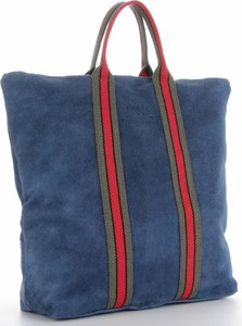 Niebieska torebka VITTORIA GOTTI ze skóry z kolorowym paskiem duża