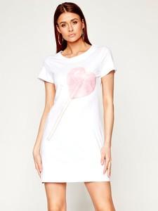 Sukienka Love Moschino mini z okrągłym dekoltem z krótkim rękawem