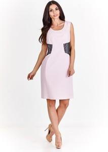 Sukienka Fokus bez rękawów dopasowana ze skóry