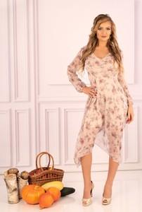Sukienka MERRIBEL midi z dekoltem w kształcie litery v z długim rękawem