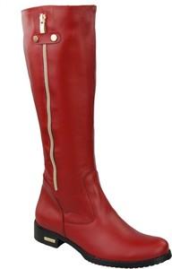 Czerwone kozaki Elitabut ze skóry w stylu klasycznym z płaską podeszwą
