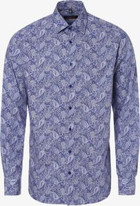 Niebieska koszula Eterna z bawełny z długim rękawem z klasycznym kołnierzykiem