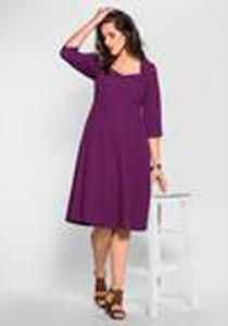 Fioletowa sukienka Sheego midi z okrągłym dekoltem z długim rękawem