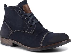 Granatowe buty zimowe Lanetti ze skóry ekologicznej