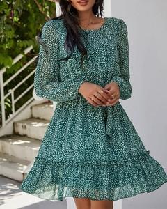 Sukienka Kendallme z długim rękawem z okrągłym dekoltem z szyfonu