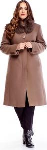Brązowy płaszcz TAGLESS z wełny w stylu casual
